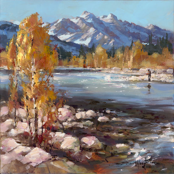 multi-colour arcylic painting titled Silence is Golden by artist brent heighton.