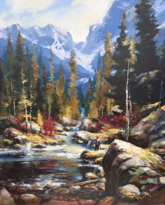 multi-colour oil painting titled SOLD - Fall Catch by artist brent heighton.