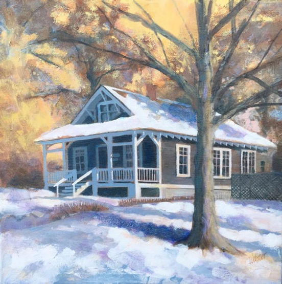 multi-colour acrylic painting titled SOLD Banff Homestead by artist john webster.