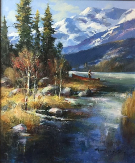 multi-colour oil painting titled River of dreams by artist brent heighton.