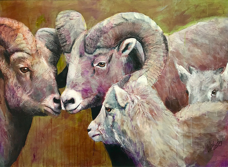 multi-colour acrylic painting titled SOLD - Family matters by artist john webster.