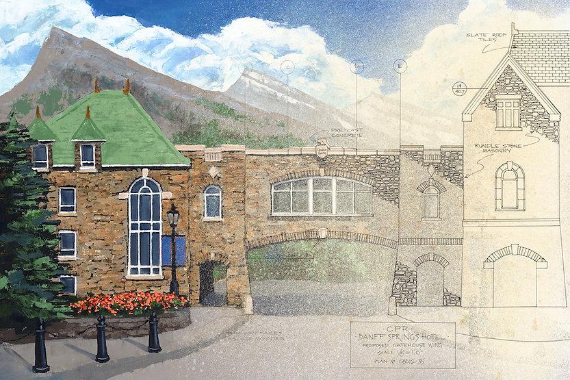 multi-colour giclee printing titled Gatehouse Toward Cascade by artist john webster.