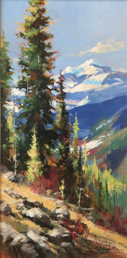 multi-colour arcylic painting titled Along the Ridge Line by artist brent heighton.