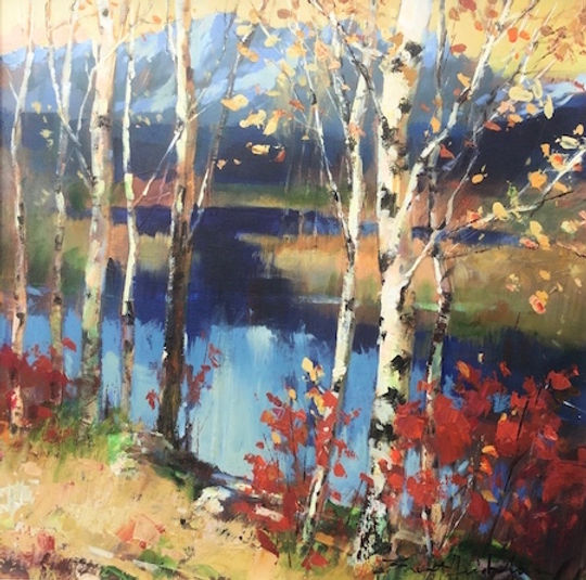 multi-colour arcylic painting titled Across the Pond by artist brent heighton.