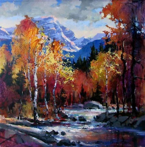 multi-colour oil painting titled Below the Glacier by artist brent heighton.
