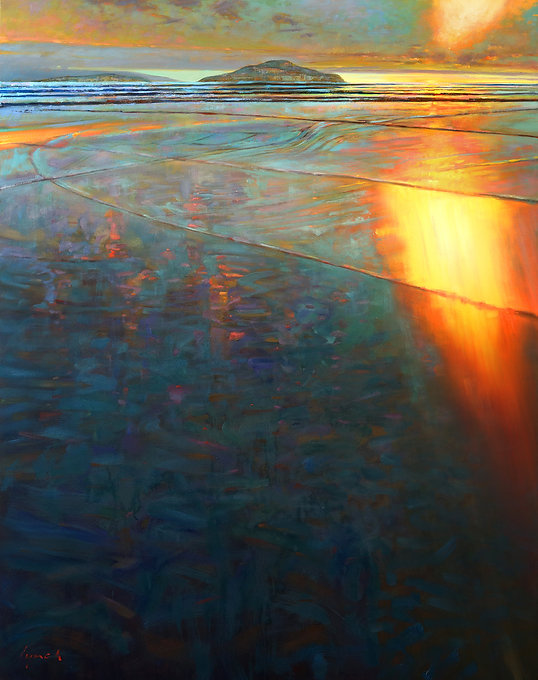 multi-colour oil painting titled Incinerator Sky', Long Beach by artist Brent Lynch.