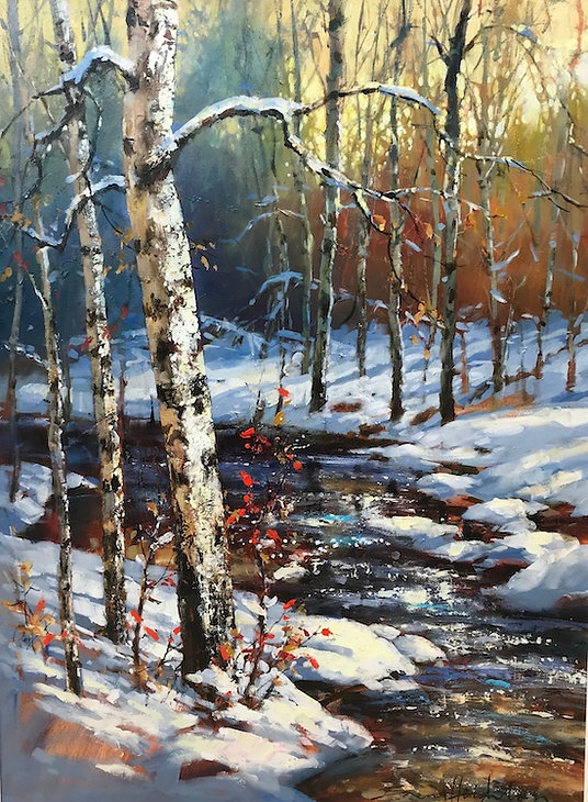 multi-colour oil painting titled Catching the Light by artist brent heighton.