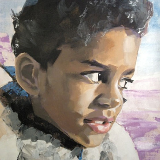 multi-colour acrylic painting titled Alexandre by artist john webster.