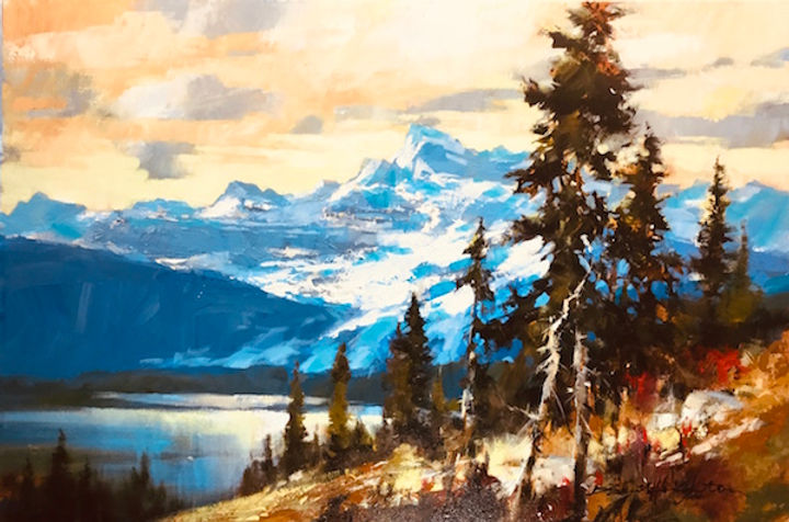 multi-colour arcylic painting titled Towards the Valley by artist brent heighton.