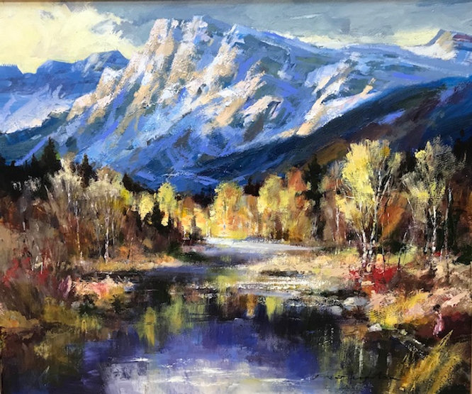 multi-colour oil painting titled the tributary by artist brent heighton.