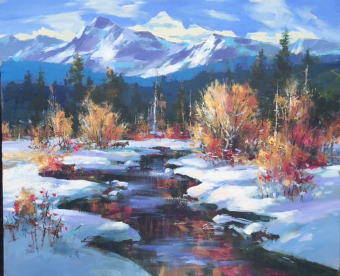 multi-colour oil painting titled SOLD-Red Fox - Late Fall by artist brent heighton.