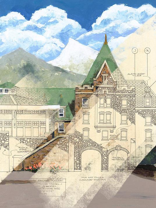 multi-colour giclee printing titled Gatehouse by artist john webster.