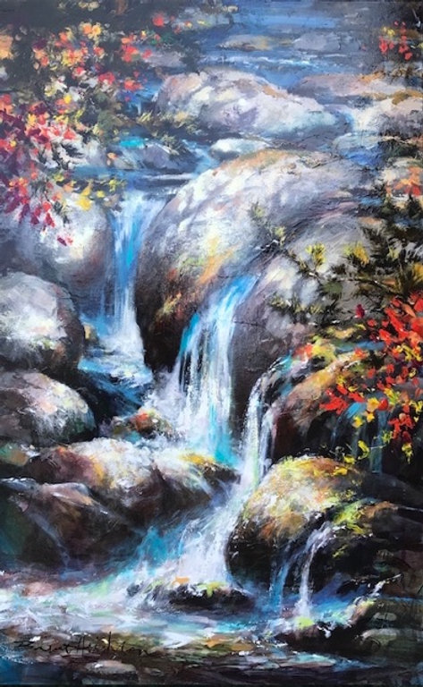 multi-colour oil painting titled WATER DANCE by artist brent heighton.