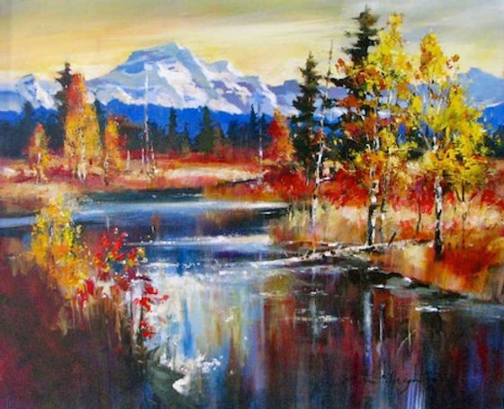 multi-colour oil painting titled SOLD-Aspen on the River by artist brent heighton.