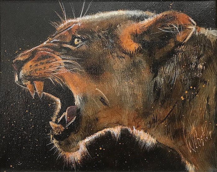 multi-colour acrylic painting titled Snarl by artist john webster.