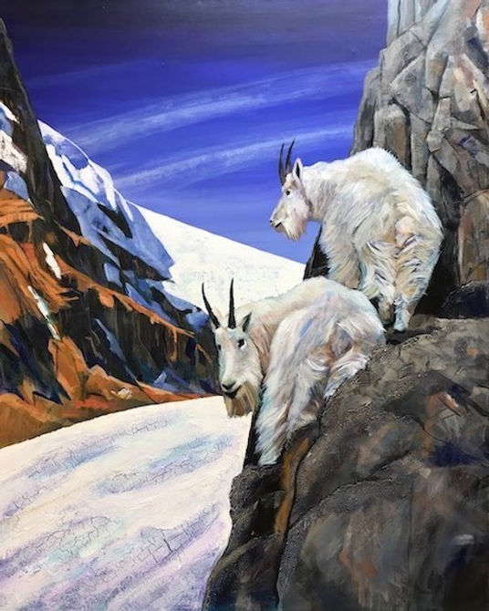 multi-colour acrylic painting titled SOLD - Cliff Hangers by artist john webster.