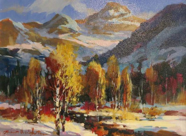 multi-colour oil painting titled SOLD-A Hint of Winter by artist brent heighton.