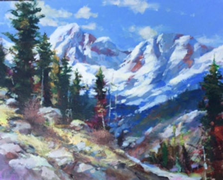 multi-colour oil painting titled A Distant Valley by artist brent heighton.