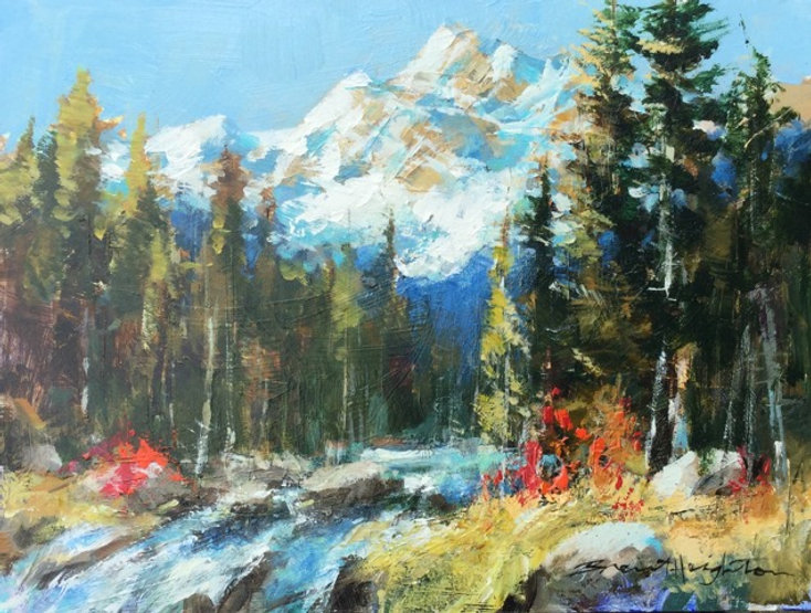 multi-colour oil painting titled SOLD-Mountain Morning by artist brent heighton.