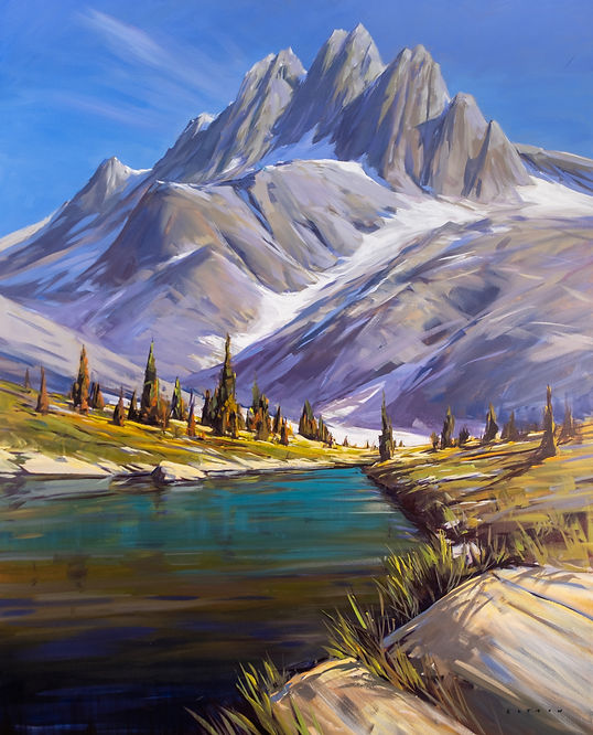multi-colour acrylic painting titled Bugaboos Alpine Lake by artist Charlie Easton.