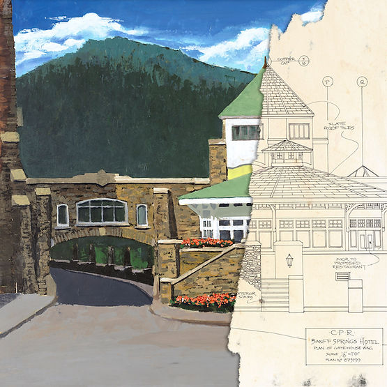 multi-colour giclee printing titled Gatehouse Toward Tunnel by artist john webster.