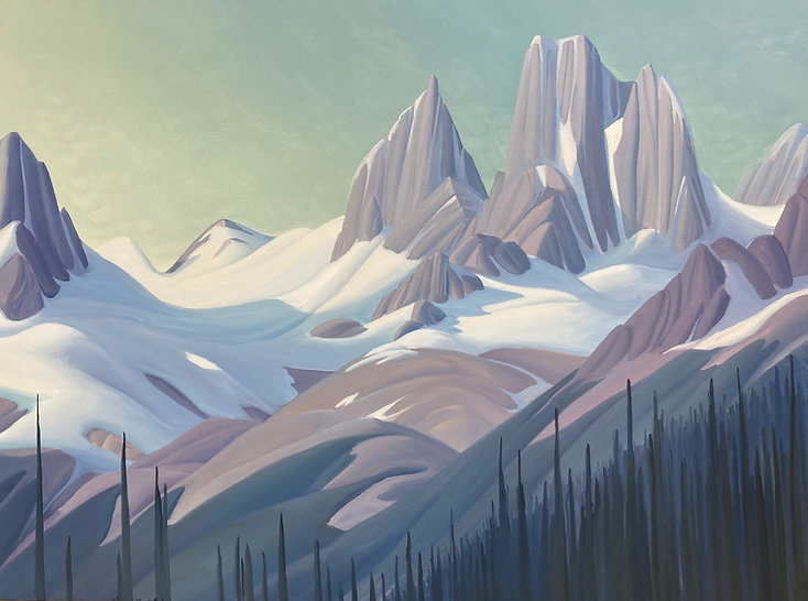 multi-colour oil painting titled Bugaboo Spires by artist Kenneth Harrison.