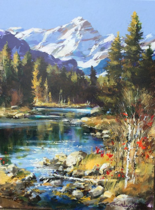 multi-colour oil painting titled SOLD - Above the Falls by artist brent heighton.