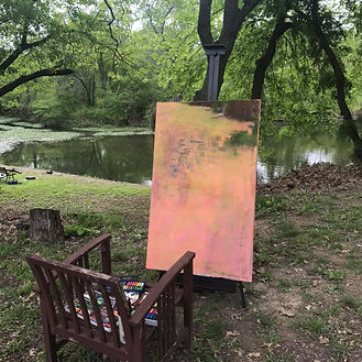 painting by the lake