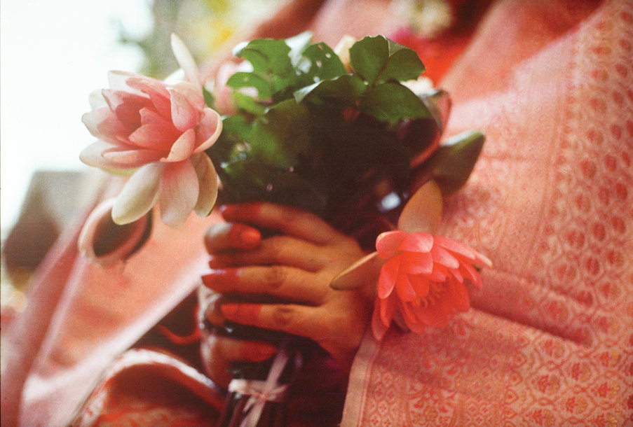 hands holding flowers