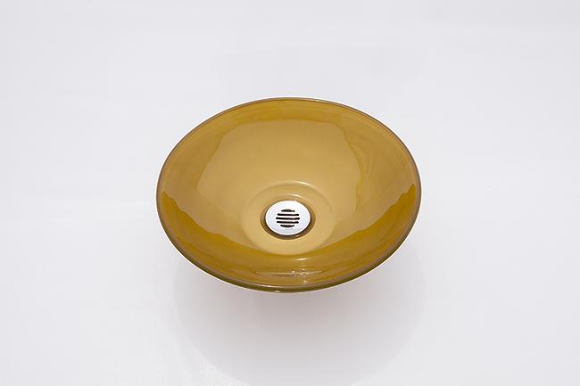 כיור זכוכית עגול זהב