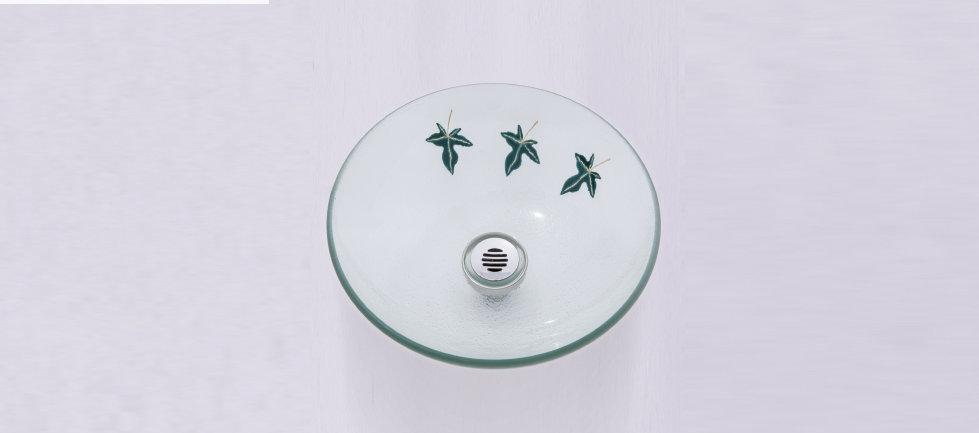 כיור זכוכית עגול עלים ירוקים