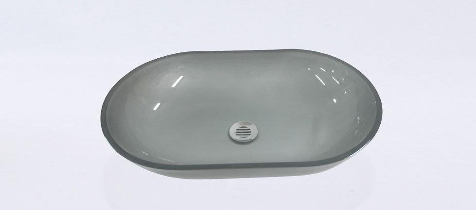 כיור זכוכית אינטגרלי מלבני חריץ שמאל