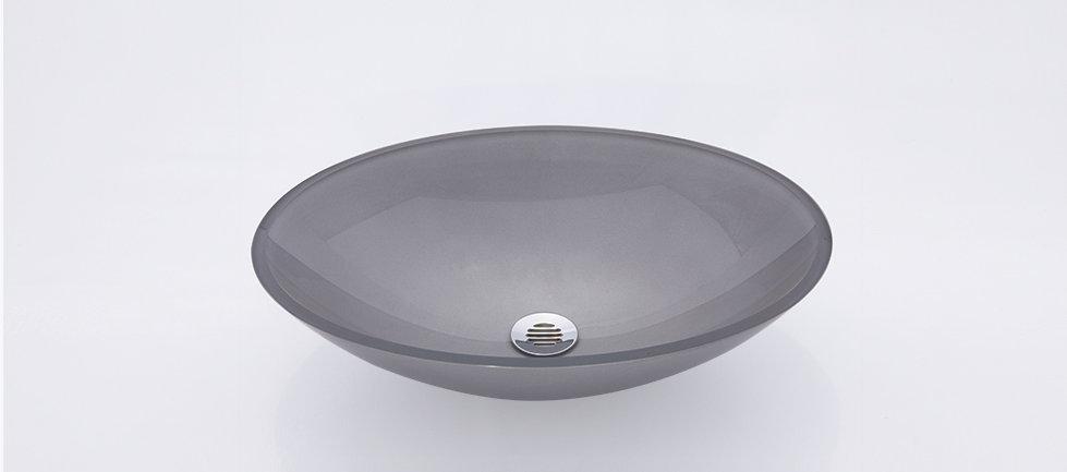 כיור זכוכית אובלי שטוח גדול