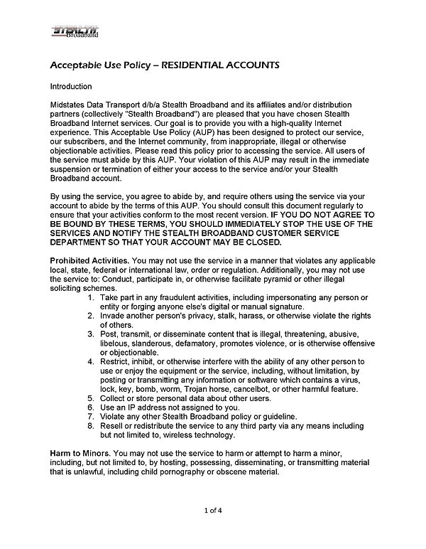 Acceptable Use Policy RESIDENTIAL - 2021