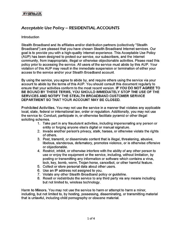Acceptable Use Policy RESIDENTIAL - 2020
