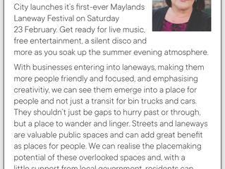 Councillor Column - Maylands Laneway Festival
