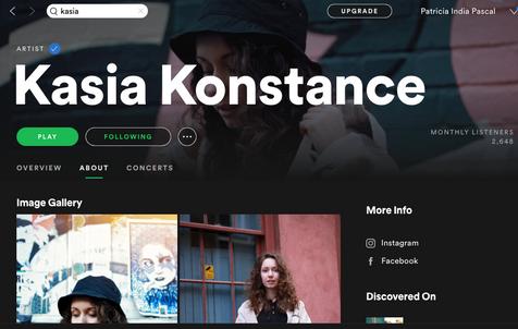 PHOTO: Kasia Konstance spotify page