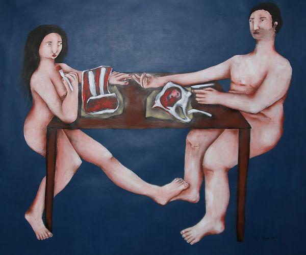 Le couple; 2017; Acrylique sur toile