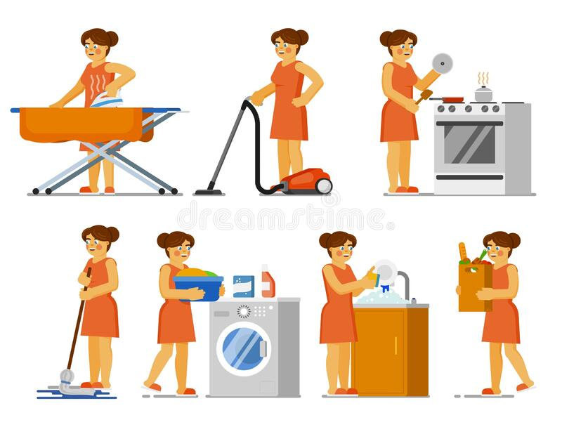 house-chores-set-housewife-doing-house-work-house-chores-set-housewife-doing-house-work-home-isolate
