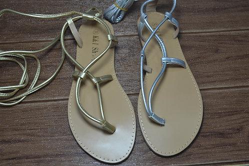 Sandalo modello schiava con laccio argento ed oro