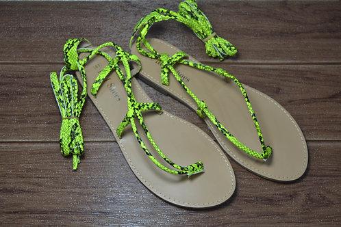 Sandalo modello schiava con laccio yellow python
