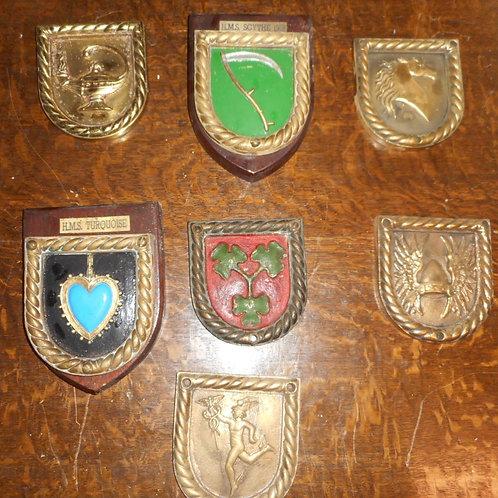 Seven H.M.S Destroyer ships badges