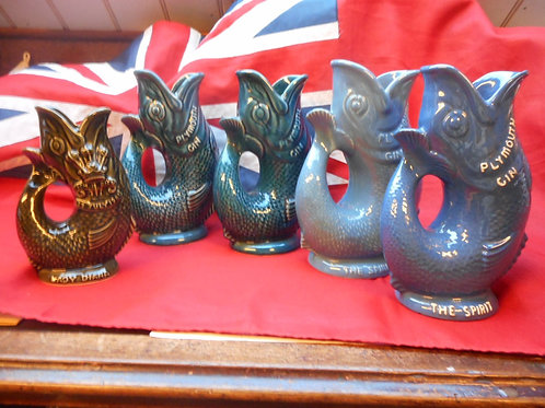 Dartmouth gurgle fish jugs, Plymouth Gin and Lady Diana