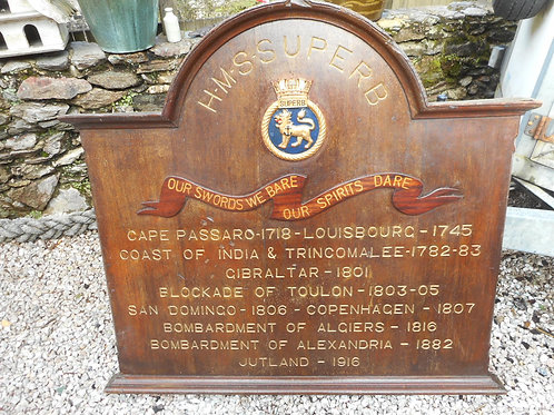 HMS Superb Battle Honours board