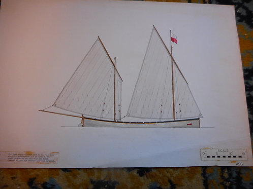 Original Trinity House scale drawing - East Anglian beach Yawl