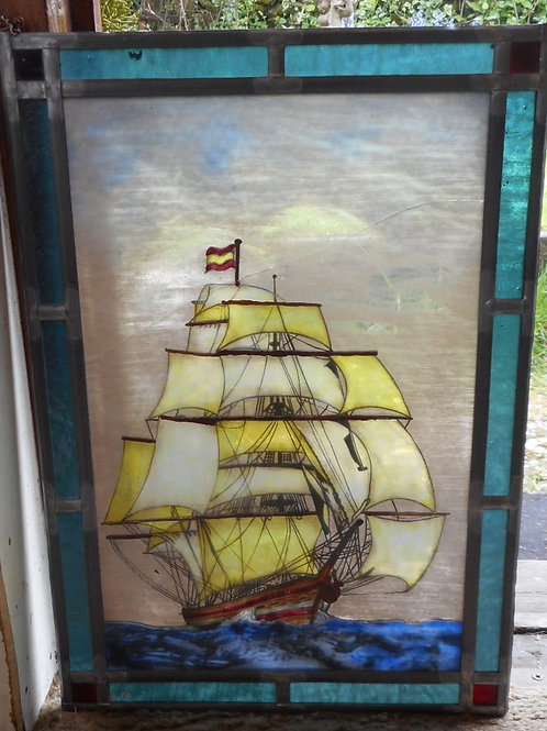 Stained glass panel of a sailing ship