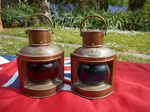Pair Port and Starboard bullseye lanterns
