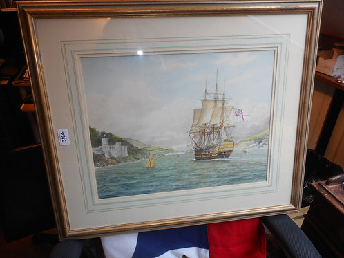 HMS Brittania watercolour