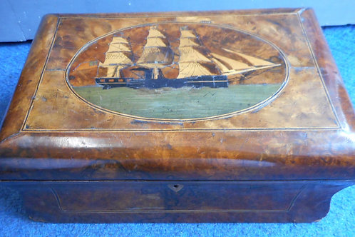 19th Century ships Walnut sewing box