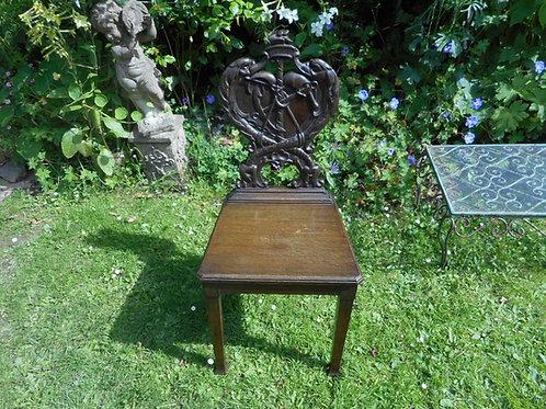 Antique oak maritime hall chair